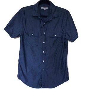 Men's Express Chambray Fitted Short Sleeve sz S